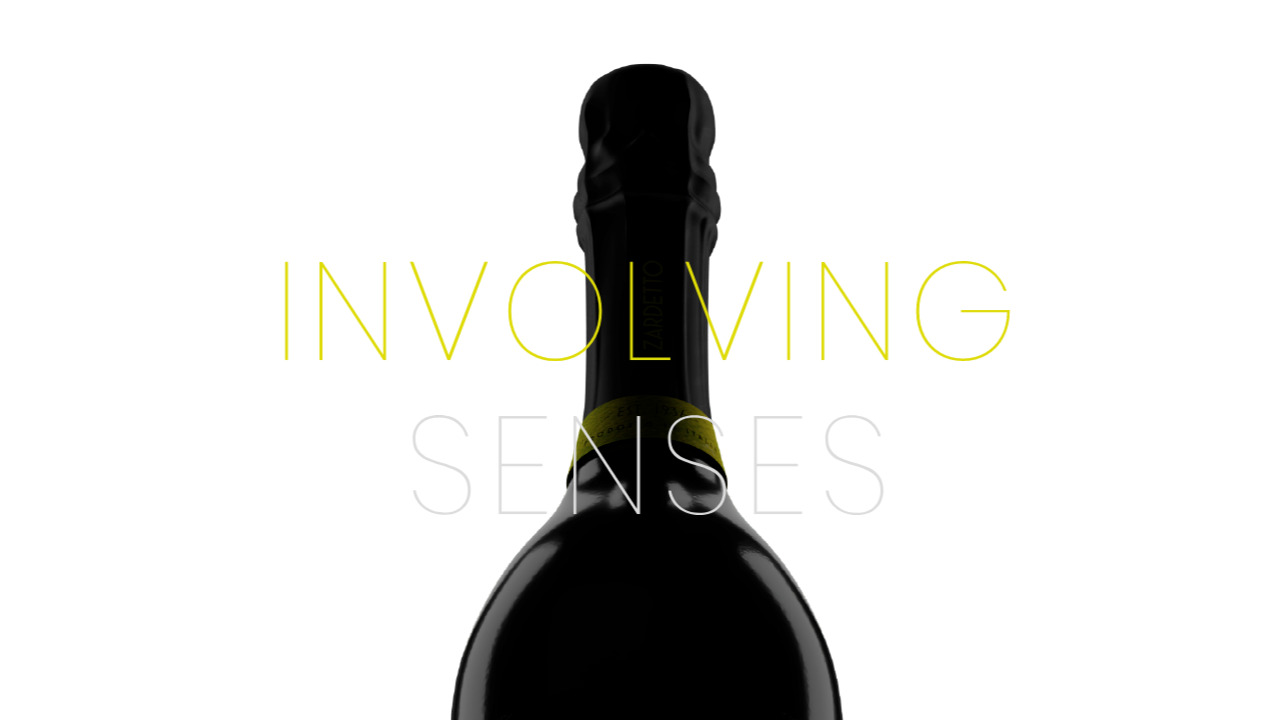 Involving Senses text and the top of a bottle